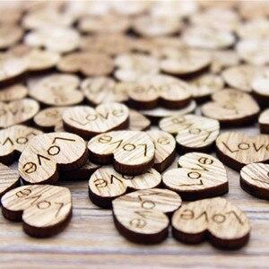 100pcs Love Heart Shape Wood Wooden Craft Christmas Wedding Home Decor DIY Birthday Decoration Party Favor Scrapbooking(China)