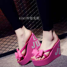 Bow Knot Patch 11 Cm High Heel Casual Slippers