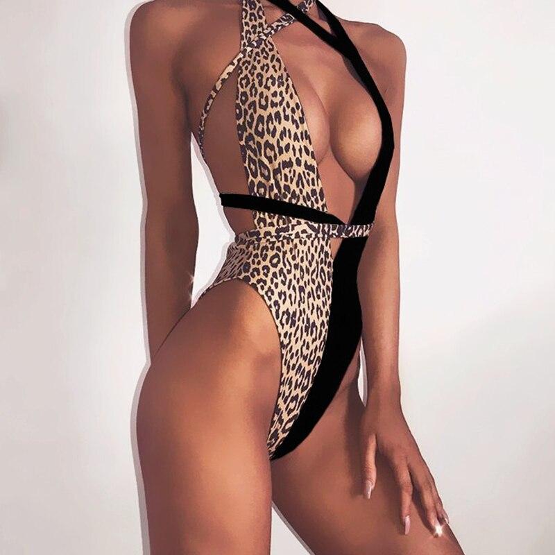 Peachtan Leopard print one piece swimsuit female Deep v-neck bikini 2020 Bandage bathing suit monokini swimwear women bathers 2