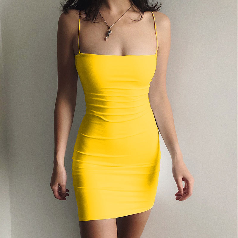 Women Halter Backless Dress 2021 Summer Hollow Out Sleeveless Knitted Dress Sexy Club Bodycon Mini Party Dresses Beach Wear Hot 12