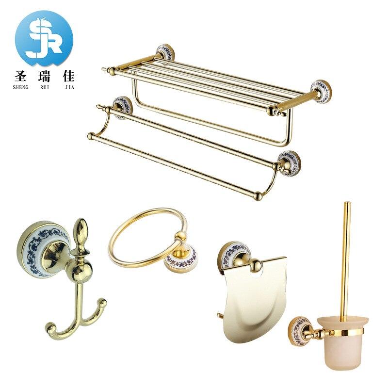 Shengruijia Sanitary Ware Hardware Accessories Towel Rack Blue And White Porcelain Series Towel Bar Hook