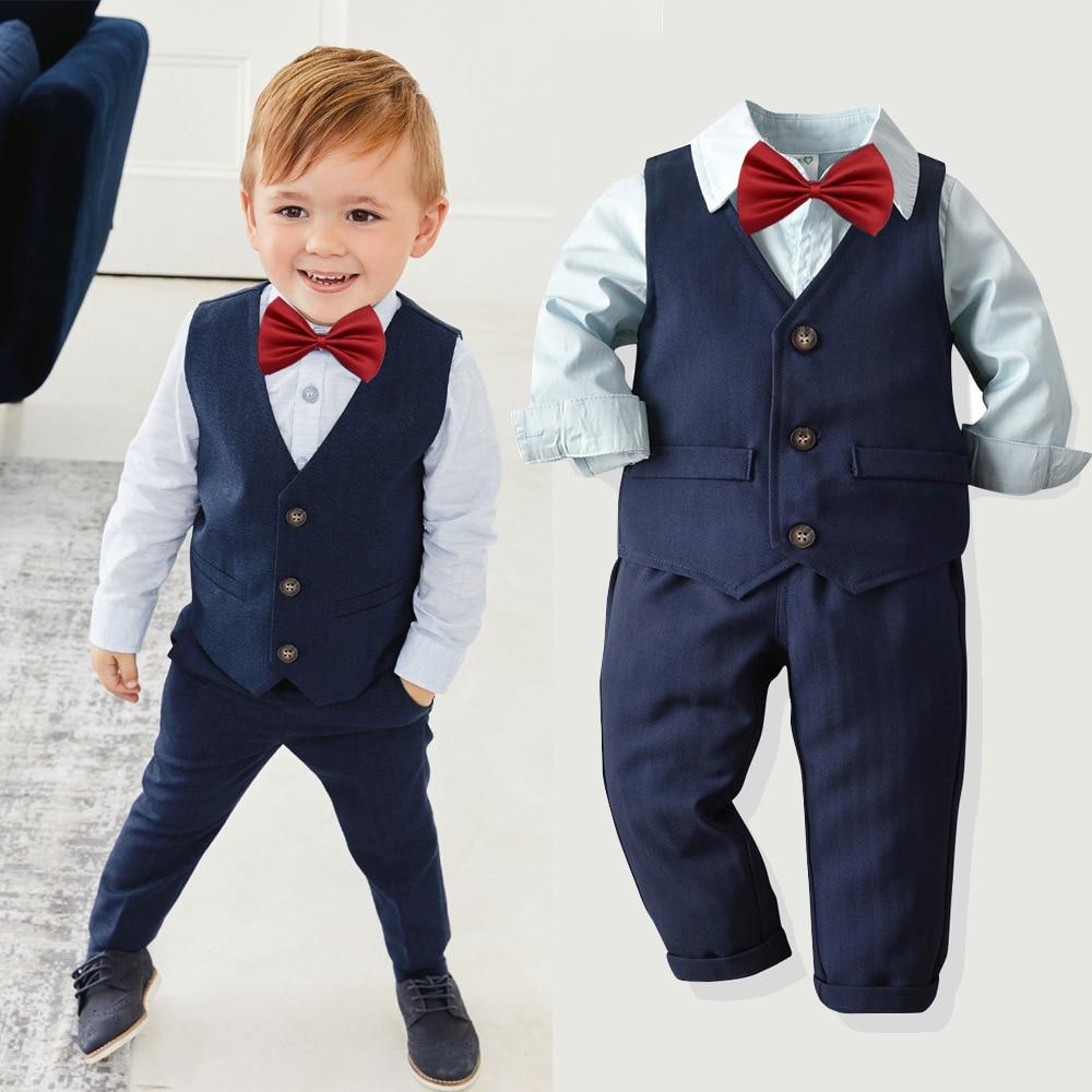 Kids Boys Toddler Formal Suits Wedding Page Boy Party 3pcs Suit Set Blazer Suits