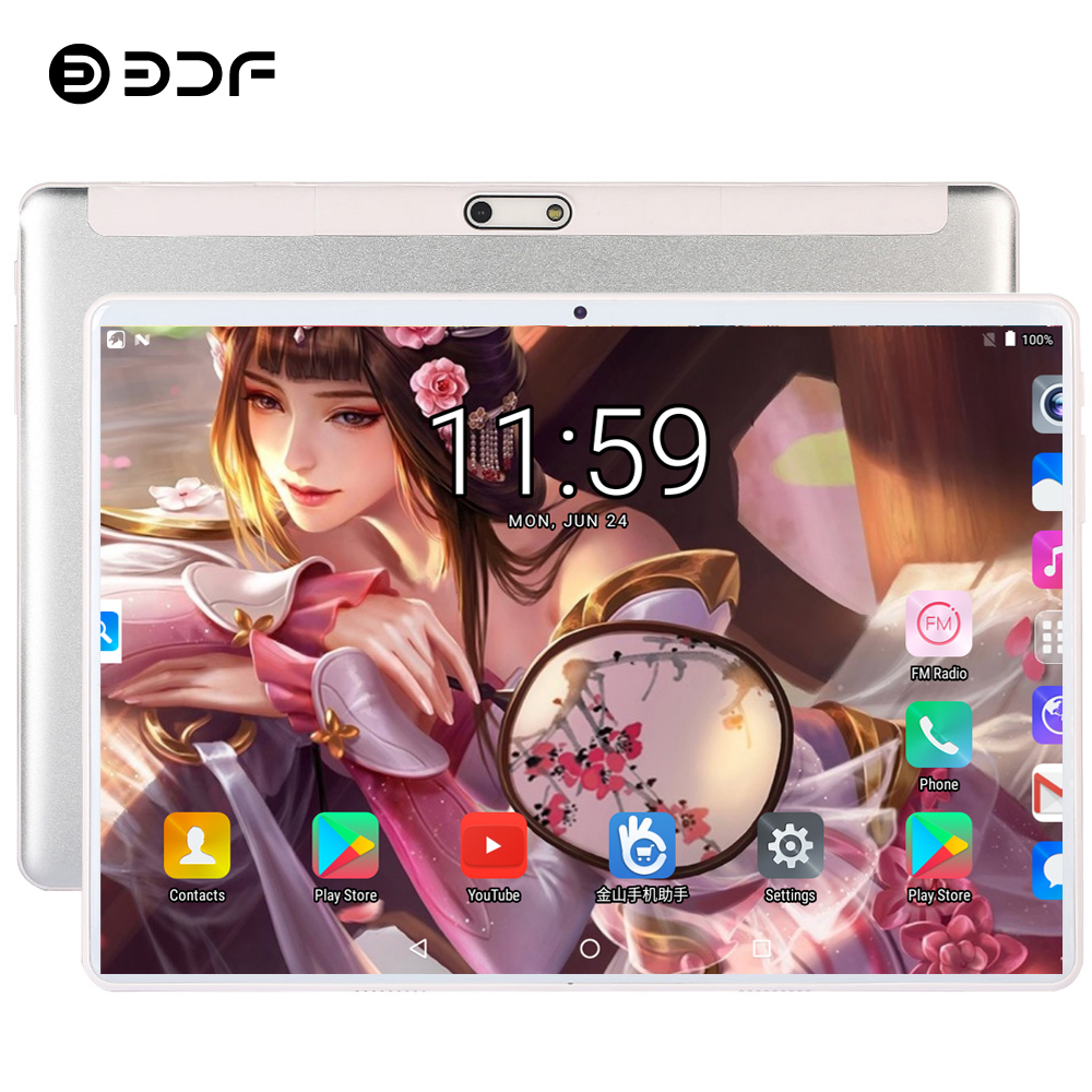 BDF 2020 New 10 Inch 3G Phone Tablet Pc 4/Quad Core 1GB RAM 32GB ROM 1280*800 IPS 2.5D Tempered Glass 10.1 Tablets Android 7.0