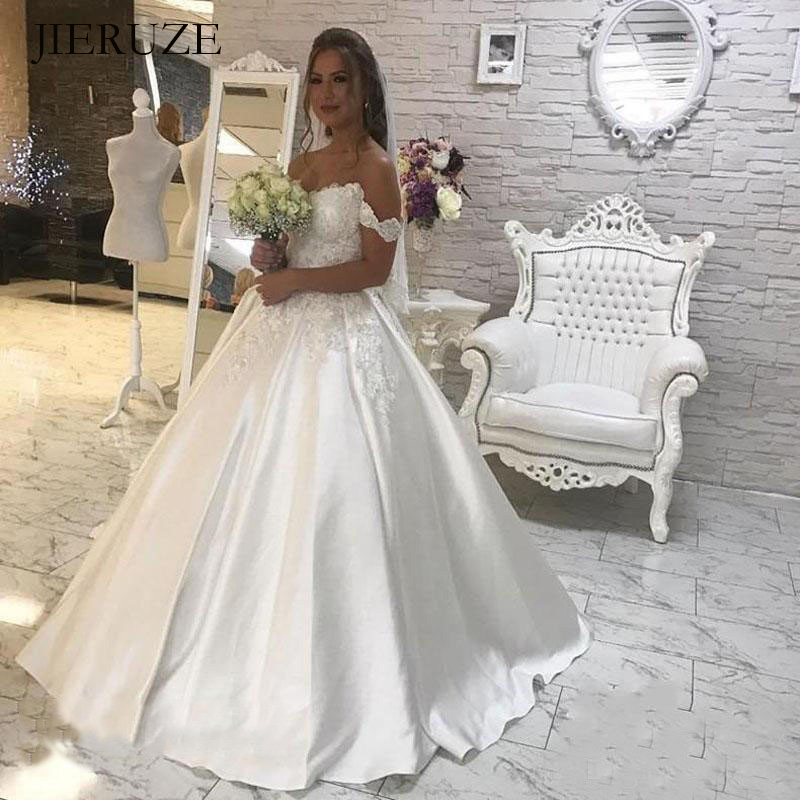 JIERUIZE White Satin Lace Appliques Ball Gown Wedding Dresses Off The Shoulder Wedding Gowns Bride Dresses Robe Mariage