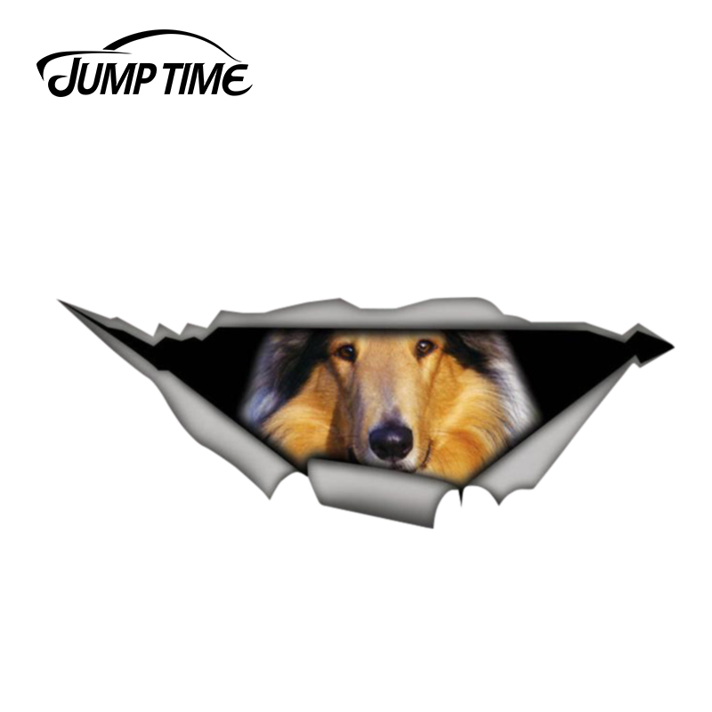 Jump Time 13cm X 4.8cm Collie Sticker Torn Metal Decal Funny Car Stickers Wild Animal Window Bumper 3D Car Styling