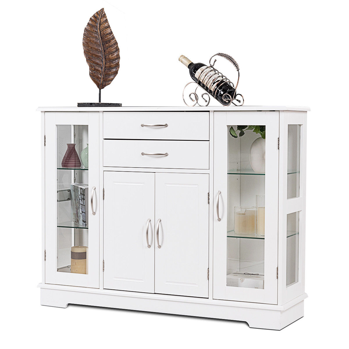 Costway Buffet Storage Cabinet Console Cupboard W/Glass Door Drawers Kitchen Dining Room