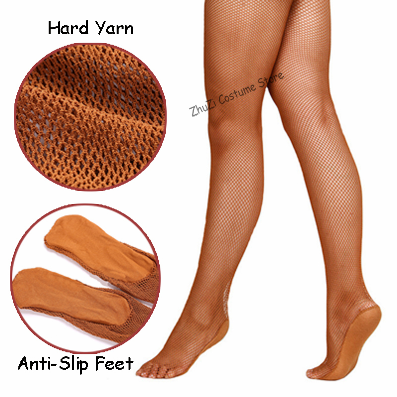 Professional Fishnet Tights Women Latin Dance Dress Ladies Ballroom&Latin Dance Hard Yarn Elastic Latin Stockings Pantyhose