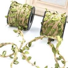 10 m simulação folhas verdes tecelagem corda de cânhamo diy festa de casamento decoração rattan rift buquê corda embalagem