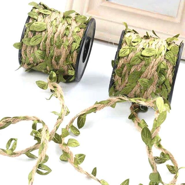10M סימולציה ירוק עלים אריגת קנבוס חבל DIY מסיבת חתונת קישוט קש קרע זר אריזה חבל