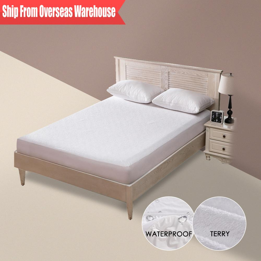 Terry Waterproof Mattress Cover Anti-mite Breathable Hypoallergenic Bed Protection Pad Mattress Protector Bed Bug Suit 1 PC(China)