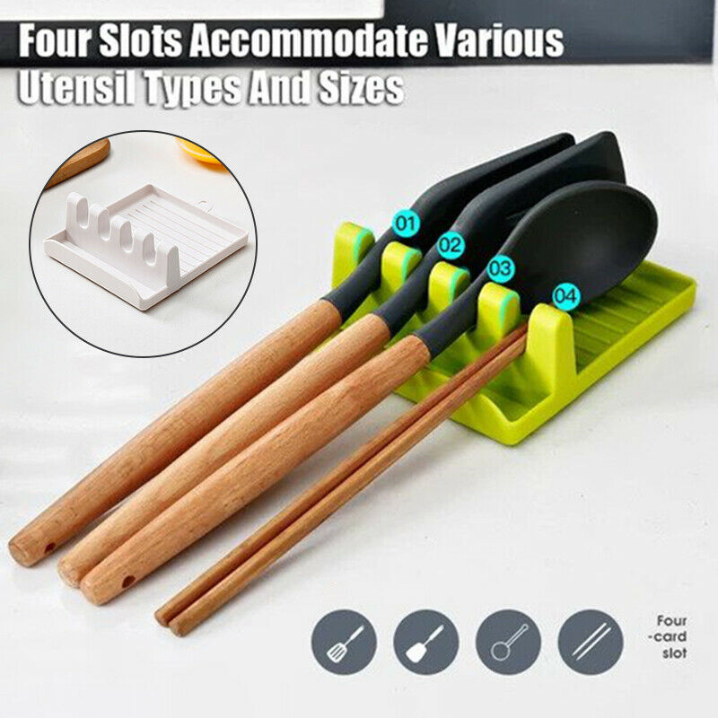 Cooking Utensil Holder Non-slip Spoon Rack Silicone Chopsticks Spatula Stand