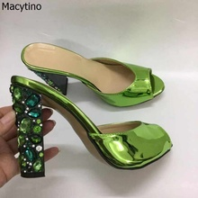 10cm Summer Women High Heel Sandals Diamond On Slip Stilettos Slippers Patent Leather Green Shinning Wedding Party Pumps