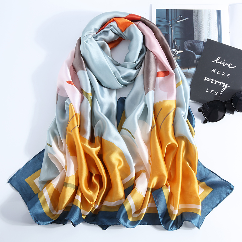 High Quality Smooth Silk Women   Scarf   2019 Fashion New Long Luxury Neck   Scarves   Bandana Shawls and   Wraps   Style Scarfs for Ladies