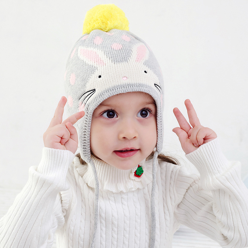 Winter Hat Girl Earflap Beanie Autumn Knit Warm Rabbit Kid Pompom Cotton Skiing Outdoor Accessory For Toddler Baby in Hats Caps from Mother Kids