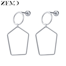 ZEMO Heart Shape Drop Earrings for Women Stainless Steel Lozenge Twist Round Long Dangle sboucle doreille femme