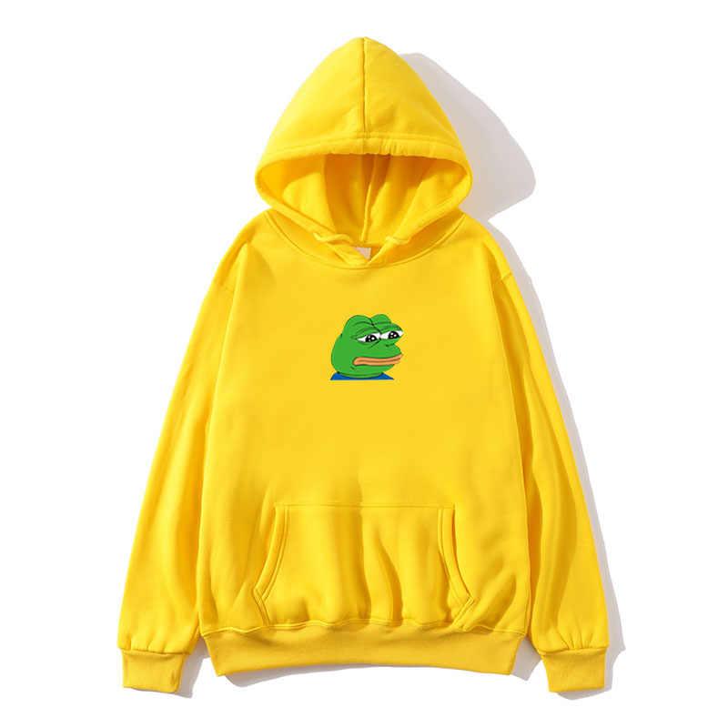 Sad Tearing Frog Print Hoodies Men Women Hooded Sweatshirts Hoodies Sweatshirt