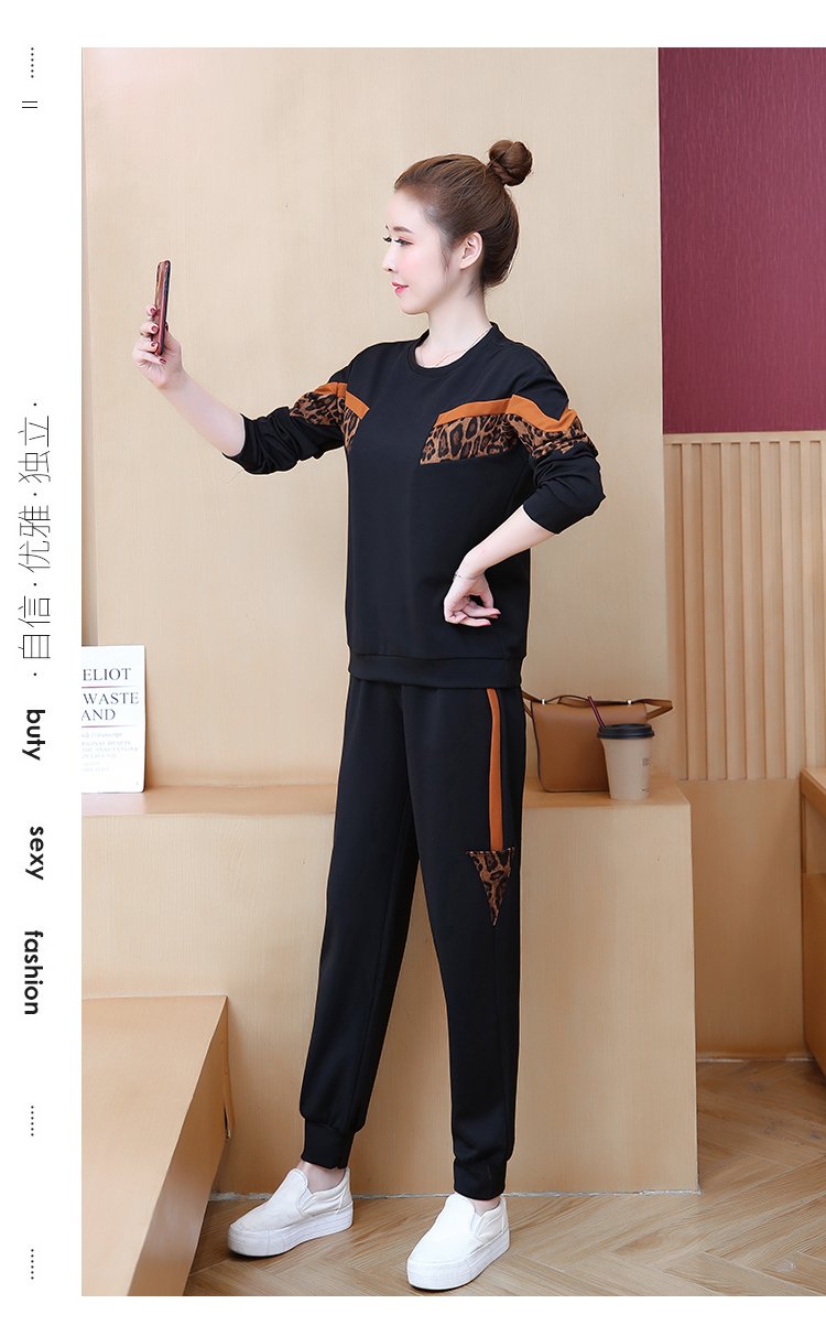 Black Leopard Print Two Piece Sport Tracksuits Sets Women Plus Size Korean Sweatshirt And Pants Suits Casual Fashion Outfits 39