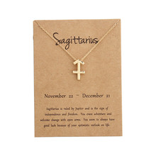 Lucky 12 Constellation Sagittarius Pendant Necklaces Virgo Necklace Birthday Gift Message Card for Women Girl Jewelry