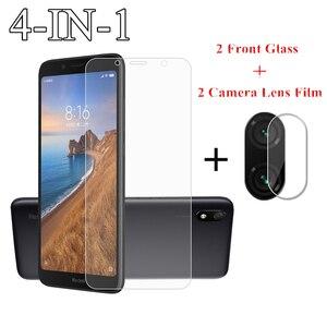 Image 1 - 2 יחידות עבור Xiaomi Redmi 7A זכוכית עבור Xiaomi Redmi הערה 9S 8 7 Pro 6 6A 8A 8T סרט זכוכית מחוסמת מגן מסך עדשת מצלמה