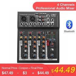LEORY Профессиональный 4 канала bluetooth DJ микшер звук микшерный пульт с USB MP3 Jack Live аудио микшер для караоке KTV