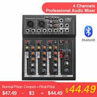 LEORY professionnel 4 canaux bluetooth DJ mélangeur son Console de mixage avec prise USB MP3 mélangeur Audio en direct pour karaoké KTV