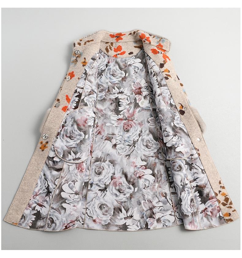 Sheep Real Shearling Fur Coat Female Mink Fur Collar Wool Coats Winter Jacket Women Korean Long Jackets Veste Femme MY S S
