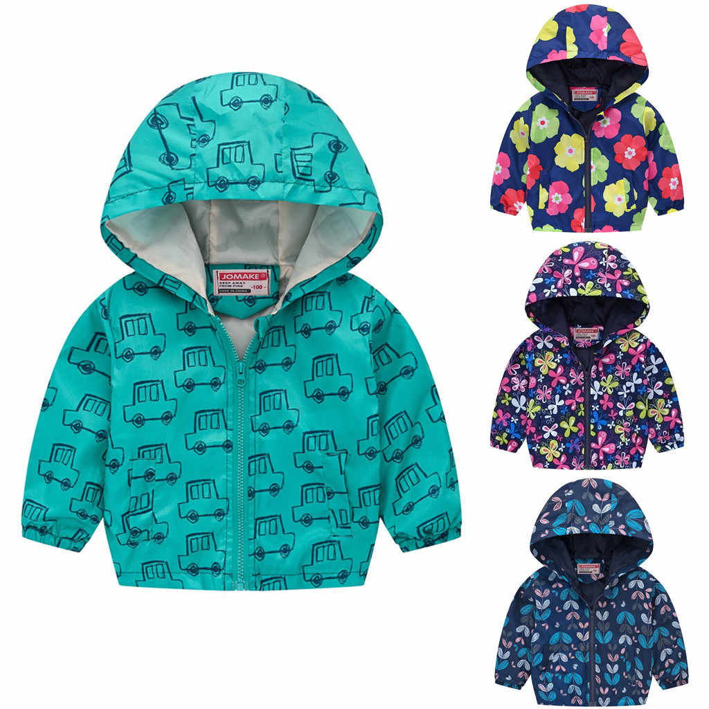 2019 Autumn Kids Clothes Children's Jackets For Boy Girl Hooded Zipper Windbreaker Baby Fashion Print Coat Waterproof Hoodies
