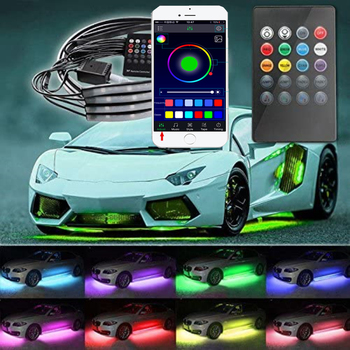 4pcs Car Underglow Flexible Strip LED Remote /APP Control RGB Car Neon Light Decorative Atmosphere Lamp Underglow 4pcs wireless remote control interior floor foot decoration light 12led car interior atmosphere rgb neon decorative lamp