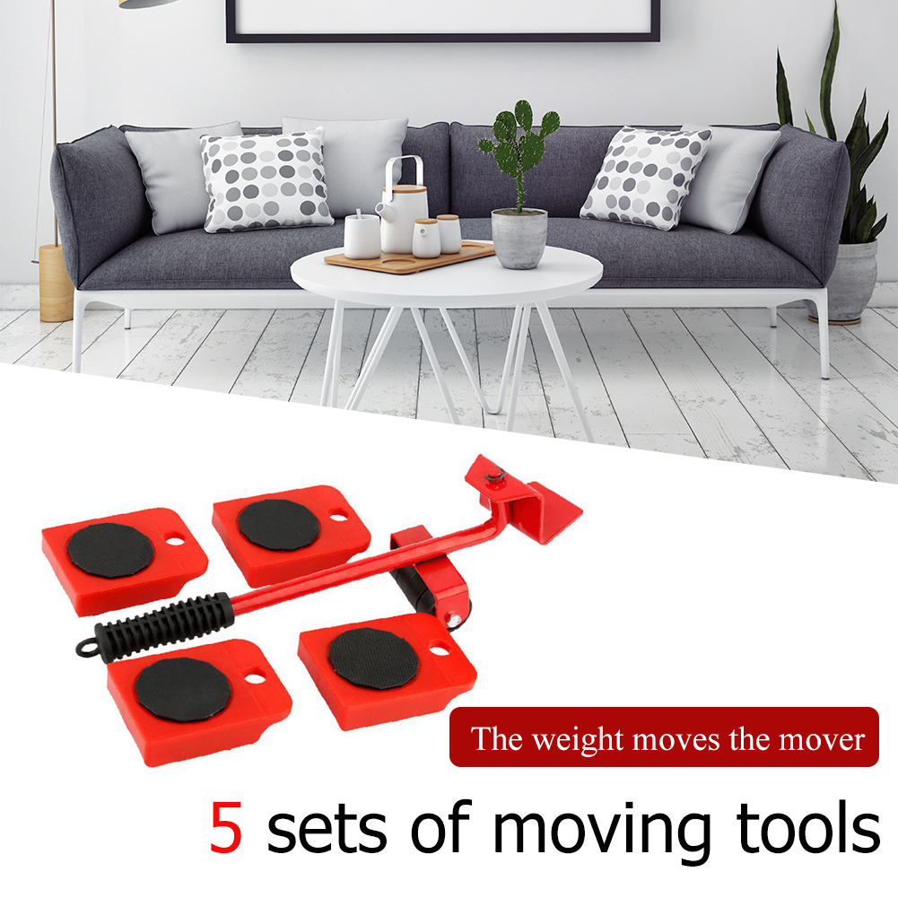 5Pcs Furniture Lifter Sliders Kit Profession Heavy Furniture Roller Move Tool Set Wheel Bar Mover Device Max Up for 100Kg/220Lbs-3