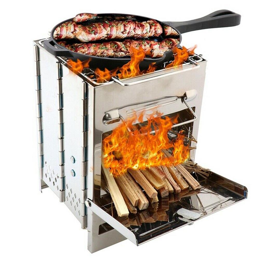 Portable Folding Outdoor Wood Burning Stainless Steel Stove Picnic BBQ Grill Kebab BBQ Barbecue Grill