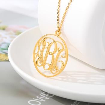 Collar con monograma personalizado, colgante con letra inicial, collar gargantilla de acero inoxidable para mujer, accesorios de envío directo