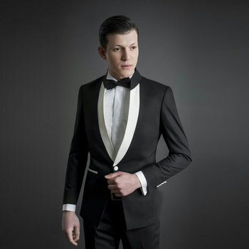 Latest Coat Pant Designs Stand Collor Black Men Suits Wedding Two Buttons Classic Custome Homme Terno Masculino Jacket 2Pieces