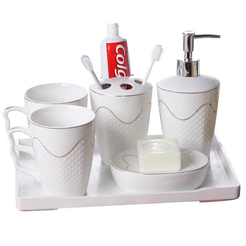 Distributeur de savon en céramique | Ensemble d'accessoires de salle de bains, porte-brosse à dents blanche, tasse de gargarisme, plat de savon avec plateau, cadeaux de mariage 5-6 pièces
