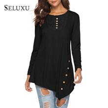 Seluxu 2019 Autumn Women T-Shirt Women's Tops Lace Long Sleeve T-Shirts Irregular Hem Tunic Shirt Lace Patchwork Tops