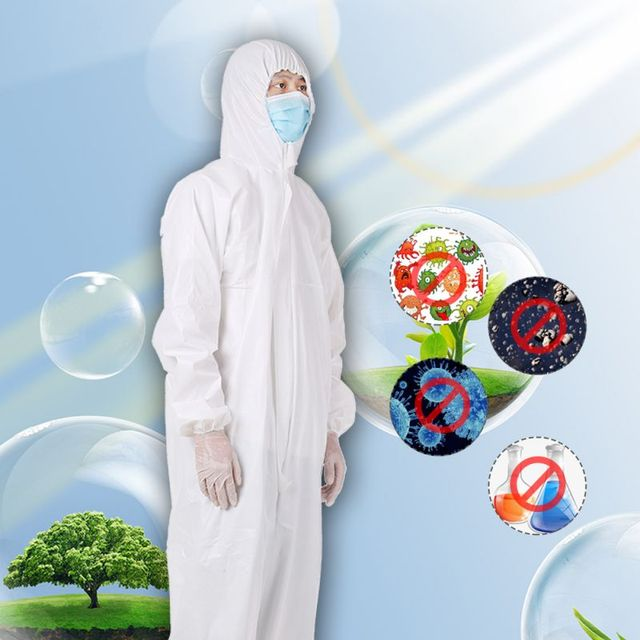 PPE Suit Disposable Full Body Protective Suit Antibacterial Closures Isolation Suit Protective Clothing Coveralls Waterproof 3