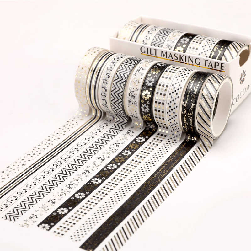 10 pièces/ensemble feuille d'or Washi ruban mignon coeur ruban de masquage décoratif ruban adhésif autocollant Scrapbooking bricolage papeterie