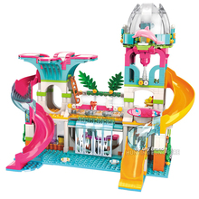 New Modern Girls Princess's Beach Sunshine Paradise House Set Water Slide Dolls DIY Educational Building Blocks Toy for Friends