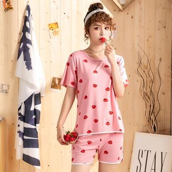 Hot sale Summer Shorts Pajama Sets for Women Short Sleeve Sleepwear Cute Girls Cartoon Pyjama Homewear Pijama Mujer Home Clothes 8