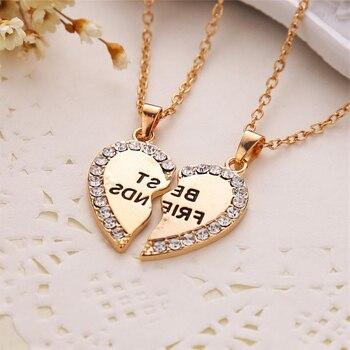 Unisex 2 Pcs BFF Necklace Women Crystal Heart Pendant Best Friend Letter Necklace Fashion Couple Necklace Men Friendship Jewelry 4