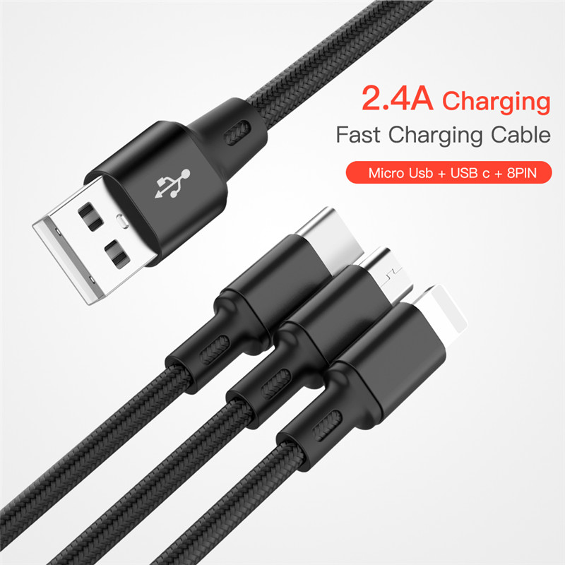 Cuimeng 3 in 1 USB Cable for iPhone Samsung S9 Xiaomi Multi Fast Charging Charger Micro