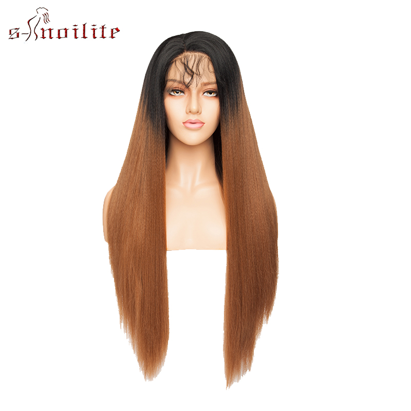 Image 4 - S noilite 26'' Ombre Lace Front Wig 12.5''x3'' Yaki Straight Synthetic Hair Lace Wig Long Wigs For Women Cosplay Halloween Wigs
