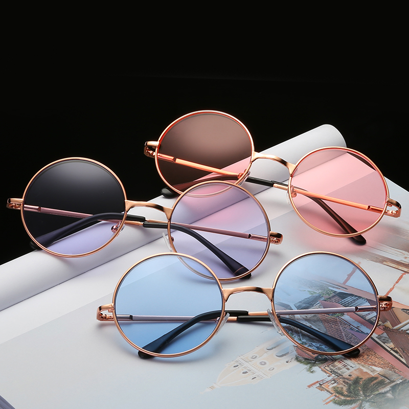 Gold Color Metal Frame Glasses Women Round Cute Kawaii Clear Lens Candy Color Sun Glasses Unisex Casual Glass