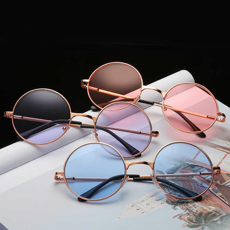 Gold Farbe Metall Rahmen Gläser Frauen Runde Nette Kawaii Klar Objektiv Candy Farbe Sonnenbrille Unisex Casual Glas