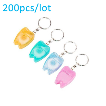 200Pcs/Lot 15 Meter Portable Floss Wire Tooth Shape Dental Floss Dental Jewelry Keychain Oral Dentist Gifts