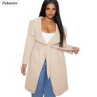 Plus Size Trench Coat Women Fall Belted Khaki Streetwear Office Lady Long Coat Korean Style Windbreaker 2019 Autumn Women Coat