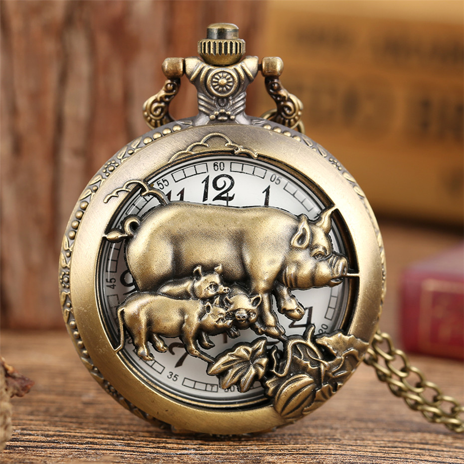 Vintage Chinese Zodiac Boar Design Half Hunter Pendant Clock Quartz Pocket Watch Bronze Fob Chain Gifts Men Women
