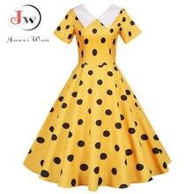 Kadınlar yaz sarı Polka Dot kısa kollu Peter pan yaka zarif parti elbise Casual Vintage A-line Midi Sundress artı boyutu