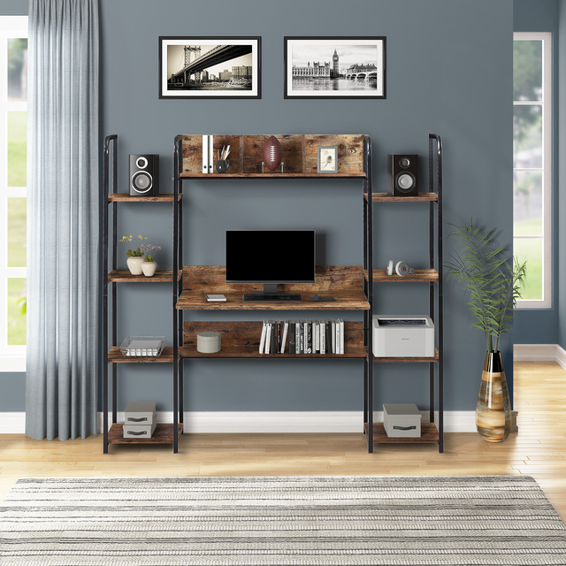 Home Office Computer Desk With Double Bookcase  1