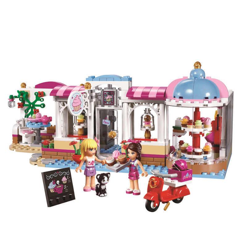Przyjaciele Heartlake Cupcake Cafe zestaw klocków Model cegły dziewczyna dzieci zabawki 41119 prezenty przyjaciele dla dziewczynek dzieci
