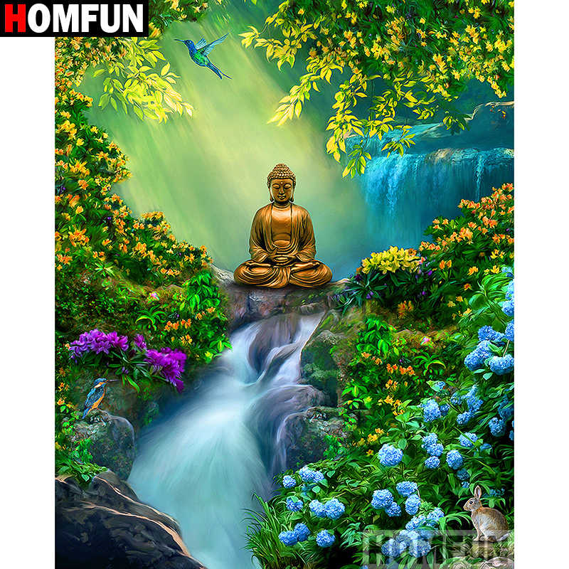 "HOMFUN 5D Diamond Painting Full Square/Round ""Buddha waterfall"" Picture Of Rhinestone DIY Diamond Embroidery Home Decor A27411"